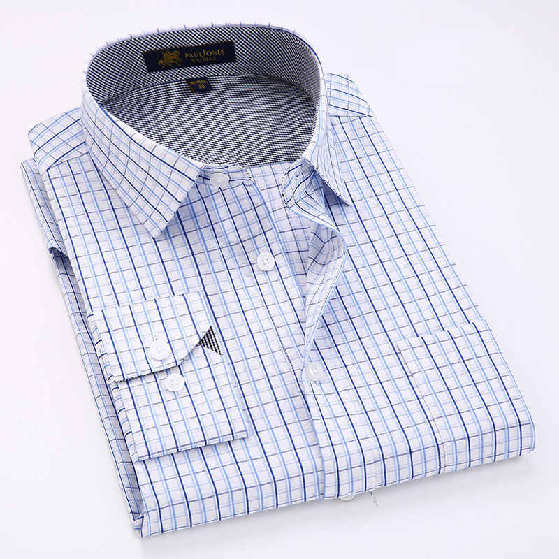 Новое поступление 2019, мужские клетчатые рубашки с длинным рукавом и карманом, Классическая легкая в уходе рабочая одежда, деловая мужская повседневная рубашка