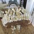 Новый Короны Для Невест 2017 Золото Тиара Женщины Свадебные Аксессуары Для Волос Высокого Качества Кристалл Оголовье acessorios para mulher SQ087