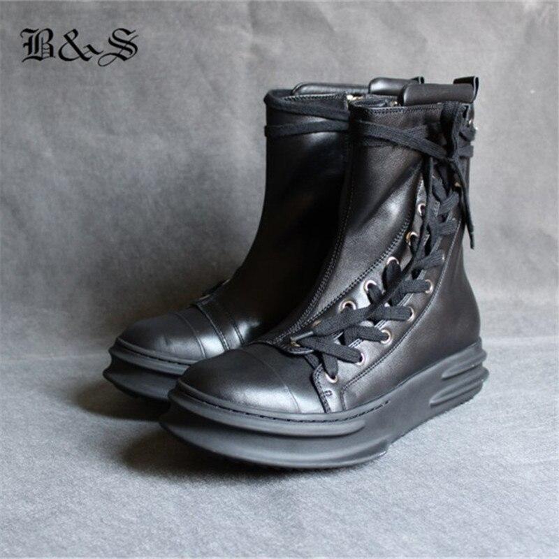 Noir et Rue Réel En Cuir Side Lace Up Plate-Forme Semelle Épaisse Rock Hip Hop tenis Bottes Unisexe Casual owen botas plat Chaussures