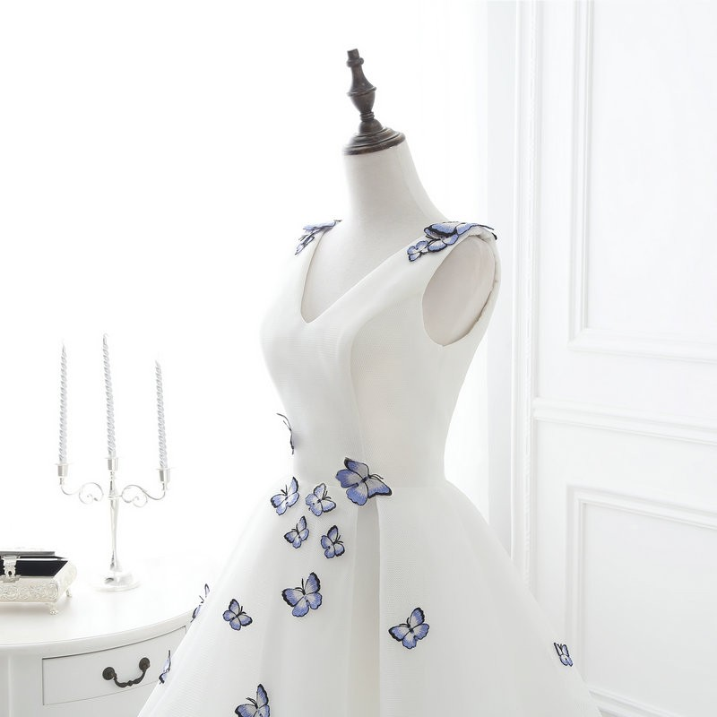 Lamya 2017 White Embroidery Butterfly V Neck Short ALine Prom Dresses Cheap Elegant Prom Dress Vestido De Festa In Stock EV2978 (5)