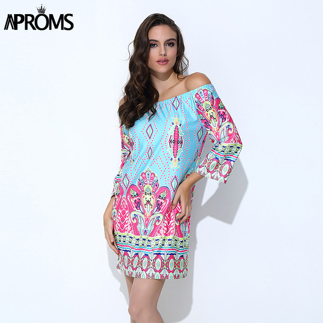 229e842ba41 Clearance Elegant Women Summer Dress High Street 2018 Boho Off Shoulder  Tunic Dresses Sundress Sexy Vestidos