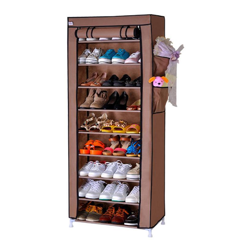9 Layers 27 Pairs Shoe Rack Dustproof Cover font b Closet b font Shoe Storage Cabinet