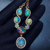 Natural Multicolor big opal Pendant necklace S925 sterling silver Natural gemstone Flowers necklace female party fine jewelery