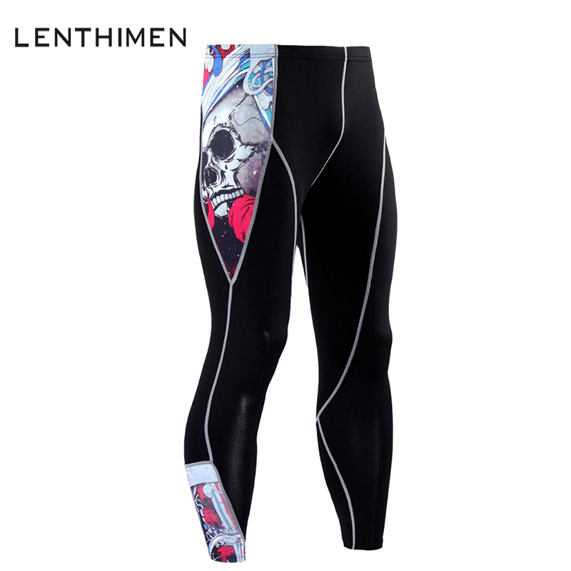 2017 Fashion Joggers Men 3D Trousers Skull Punisher MMA Leggings Bodybuilding Crossfit Quick Dry Black Mens Compression Pants