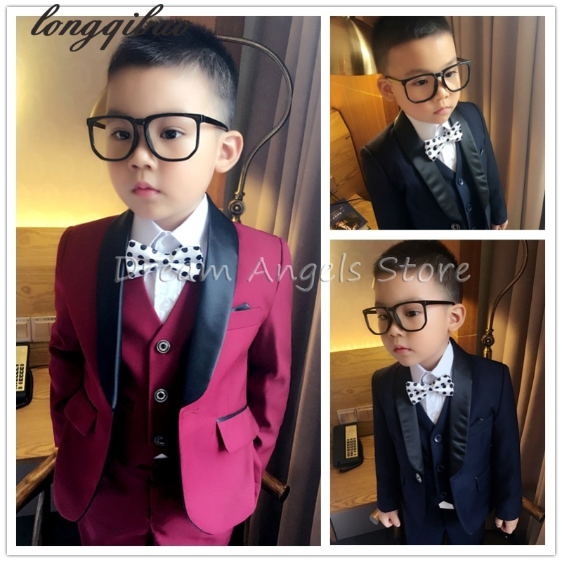 2017 (Jackets+Vest+Pants) Boy Suits Flower girl Slim Fit Tuxedo Brand Fashion Bridegroon Dress Wedding Red and Blue Suits Blazer pico qx