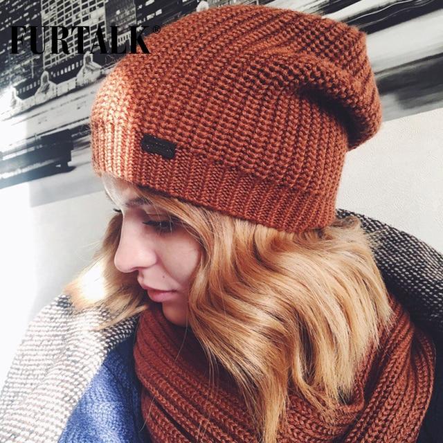 FURTALK Autumn Winter Knitted Women Hat Scarf Set Slouchy Hat Infinity Scarves Hat Knit Skullies Beanies Hats for Girls