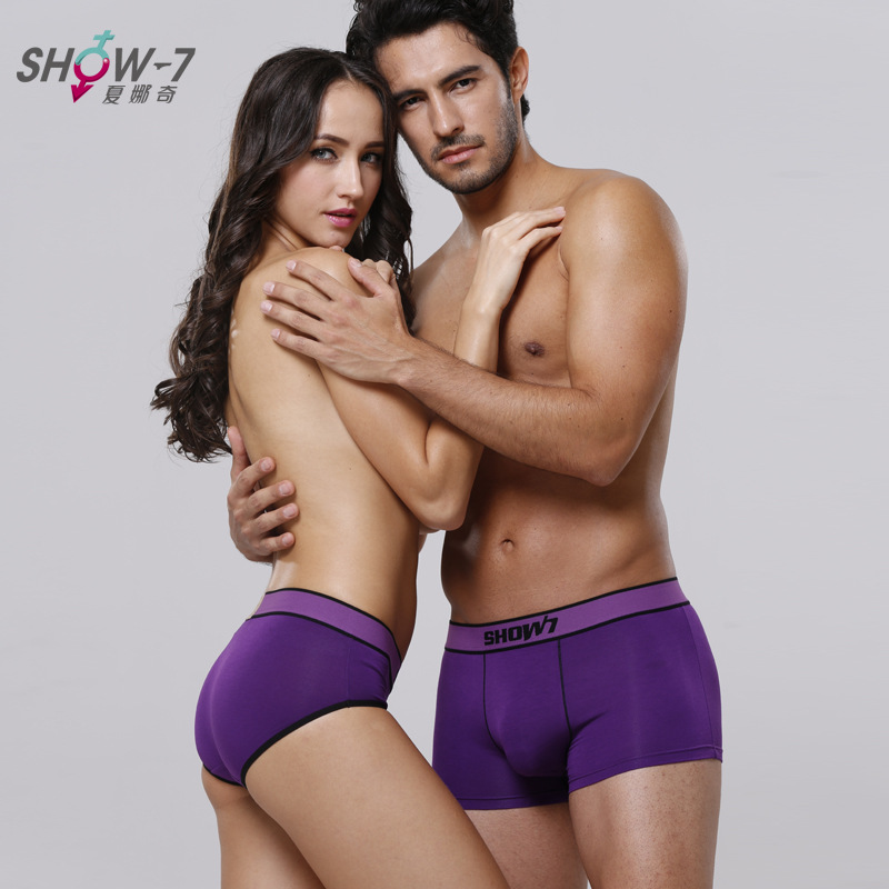 New Bamboo Fiber Couples Underwear Sexy Lingerie Boxer Men and Women Panties Solid Color Lover Mid-waist Panties Free Shipping