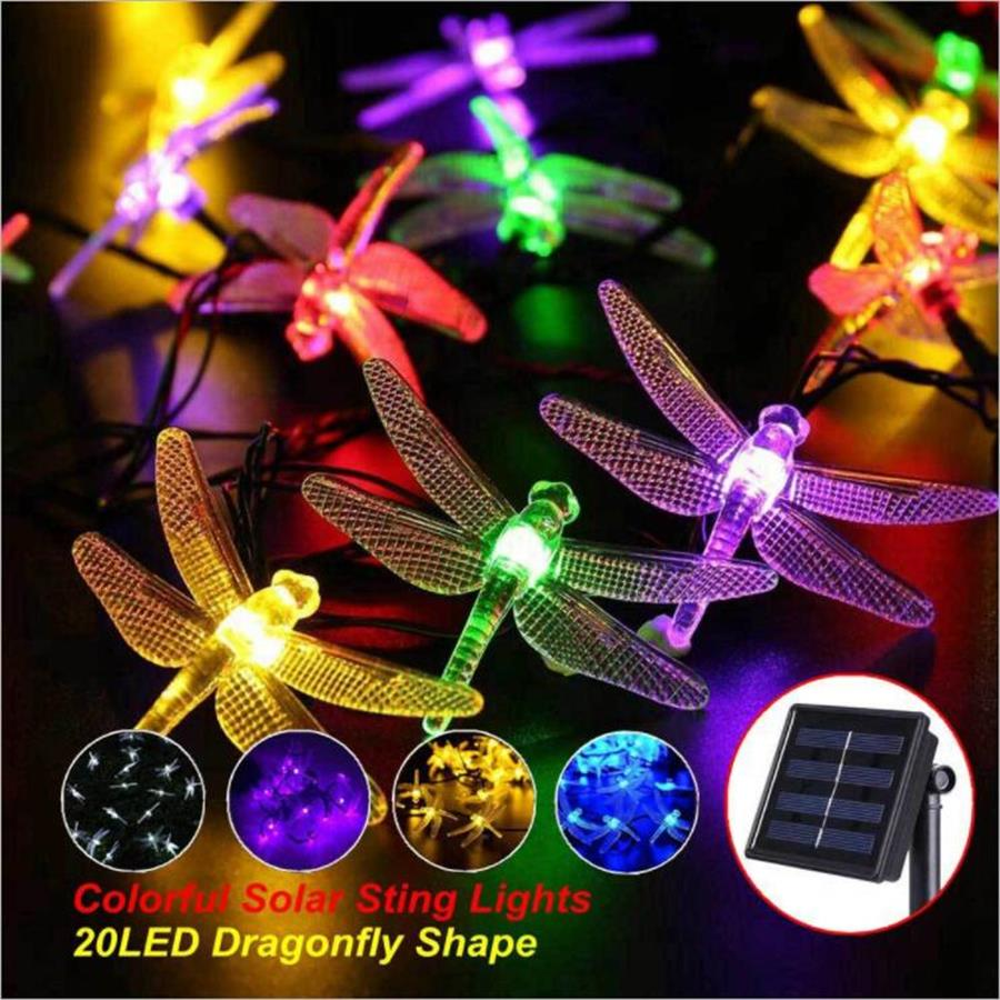 Solar Christmas Lights 30 LED 8 Modes Solar Dragonfly Fairy String Lights for Xmas Party garden Decorations Outdoor Solar Lamp