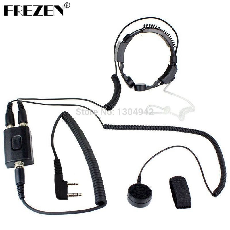 Galleria fotografica Professional Military Police FBI Throat Microphone Covert Acoustic Tube Earpiece Headset 2pin for <font><b>KENWOOD</b></font> Radio baofeng BF UV-5R