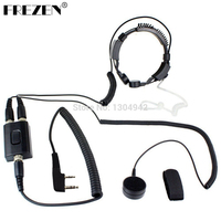 Professional Military Police FBI Throat Microphone Covert Acoustic Tube Earpiece Headset 2pin for KENWOOD Radio baofeng BF UV 5R