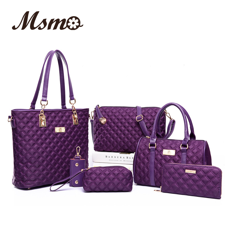 Fashion Diamond Lattice Women Brands Oxford Women Shoulder Bags Ladies Tote  Bag Handbag+Crossbody Bag+Wallet+Purse 6 Sets 721d1e8847