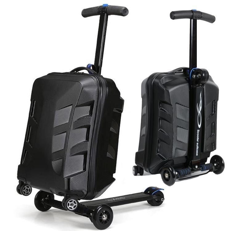 "Bagaj ve Çantalar'ten Tekerlekli Bagaj'de Travel tale 100% PC personality cool scooter Suitcase Carry on Spinner Wheel multi function Travel Luggage 21""'da  Grup 1"