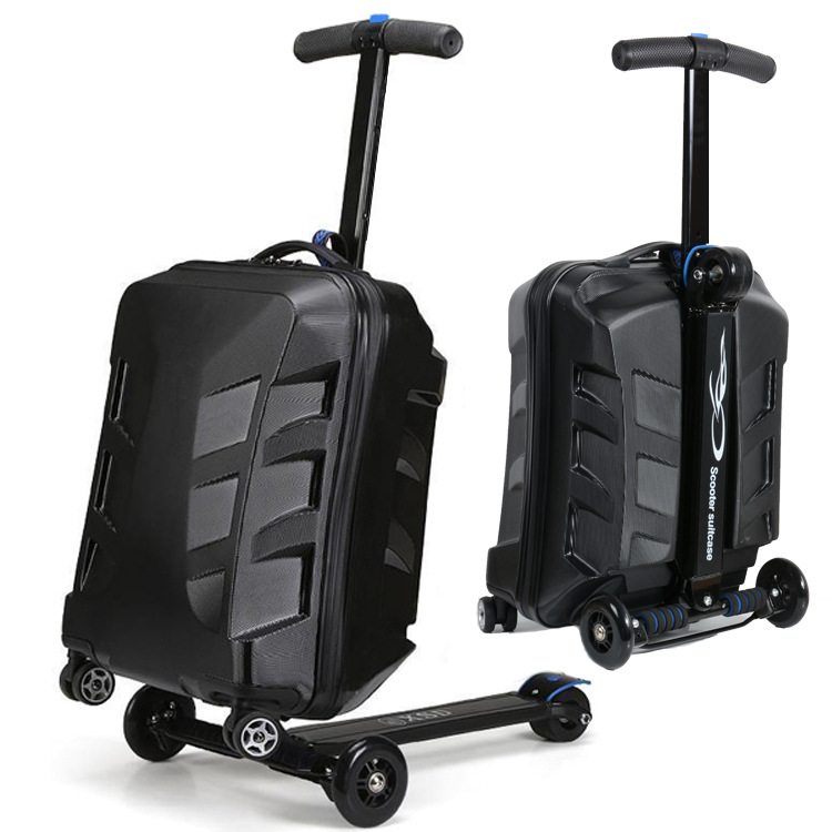 Travel tale 100% PC personality cool scooter Suitcase Carry on Spinner Wheel multi-function Travel Luggage 21