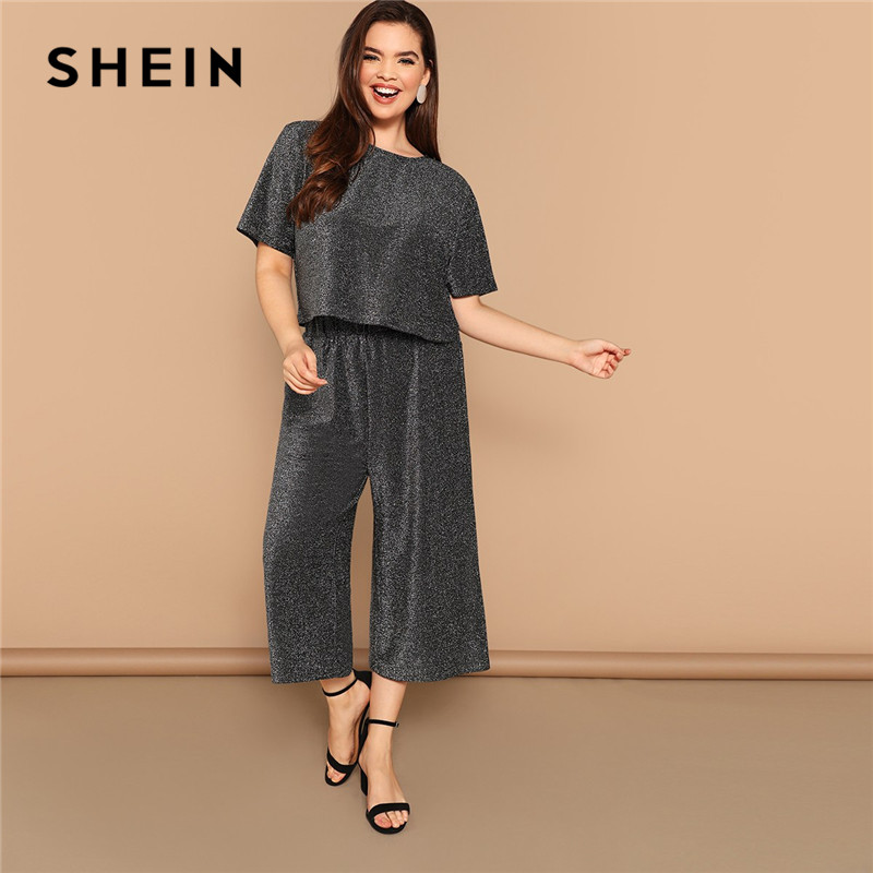 28fa1275f345b Detail Feedback Questions about SHEIN Gray Plus Size Cutout Back Short  Sleeve Glitter Tops With Palazzo Pants Women Sets Wide Leg Crop Trousers  Two Pieces ...