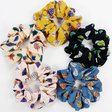 New 1 PCS Simple Large Intestine Cloth Hair Ring Leaves Printed Womens Tie Headwear Bands Accessories