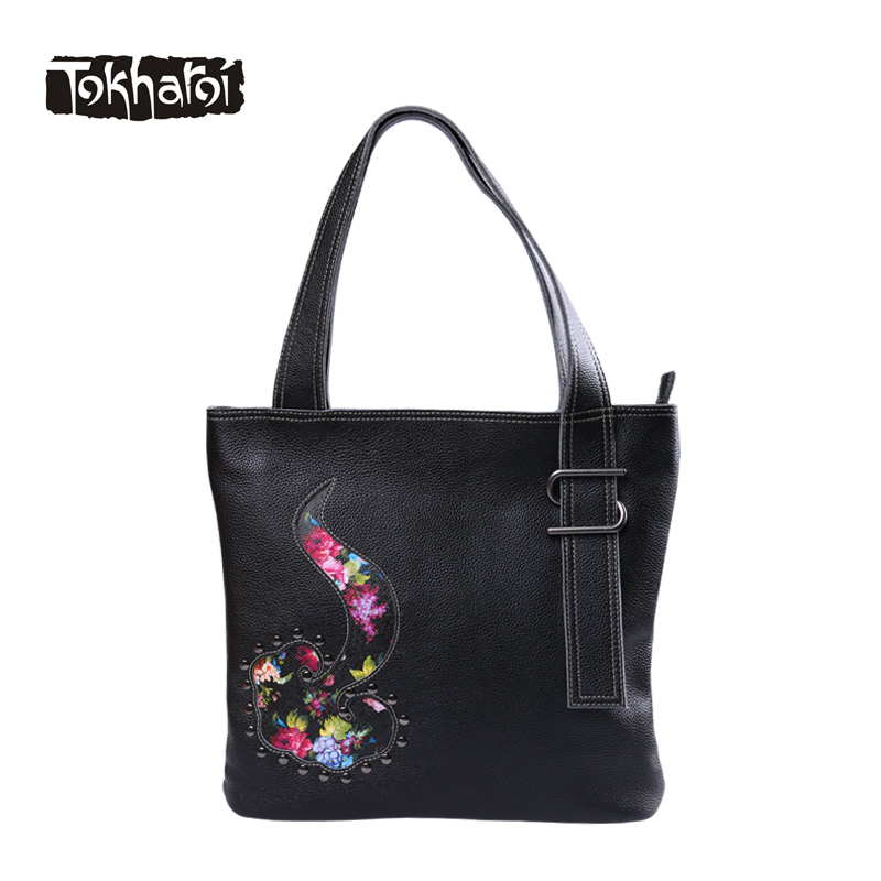Tokharoi National Designer Genuine Leather Women Bags Embroidery Flowers Handbag Large Capacity Shoulder Bags Casual Tote 2017 a three dimensional embroidery of flowers trees and fruits chinese embroidery handmade art design book