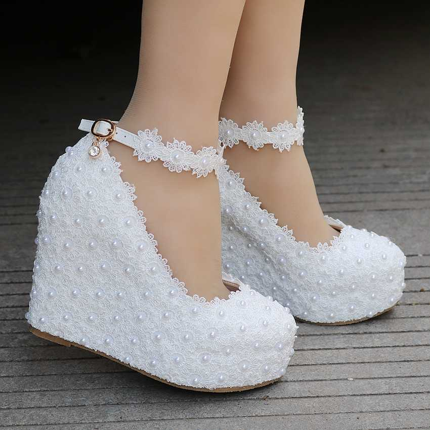 ... White Lace Wedges Shoes Pumps High Heels Wedges Heels Platform Wedges  Women Shoes Lace And Pearls ... 59dea2e28378