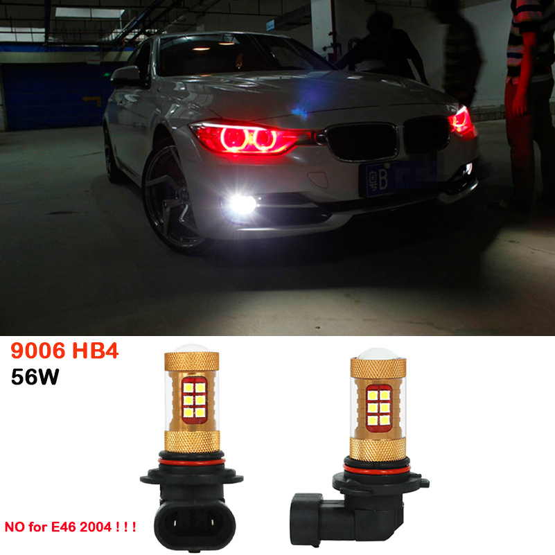 For BMW E63 E64 E46 330ci 9006 HB4 56W Car Styling LED Fog Lights High Brightness Fog Lamp Auto DRL Daytime Running Light White 2x 9006 hb4 led projector fog light drl 12w no error for volkswagen golf 6 mk6 2011 2012 scirocco 08 on t5 transporter 2003 2016