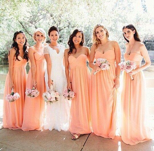 A Line Sweetheart Long Chiffon Peach Bridesmaid Dress Maid of Honor Dress  Vestido de madrinha d81b3eabe0c5