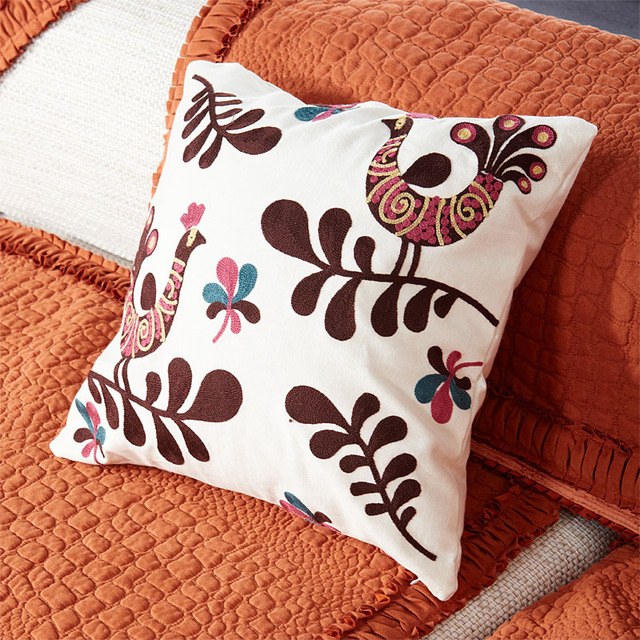 White embroidery pattern embroidered pillow set of 100% cotton material