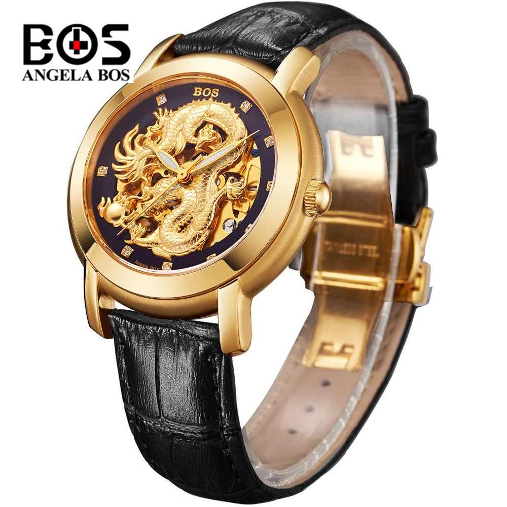 98598fc9bd Relogio Masculino ANGELA BOS Luxury Gold Automatic Watch Men Waterproof Top  Brand Luminous Military Mechanical Watches Clock Man