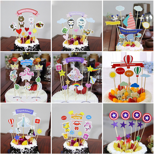1set Happy Birthday Cake Toppers Princess Super Wings Kids Favors