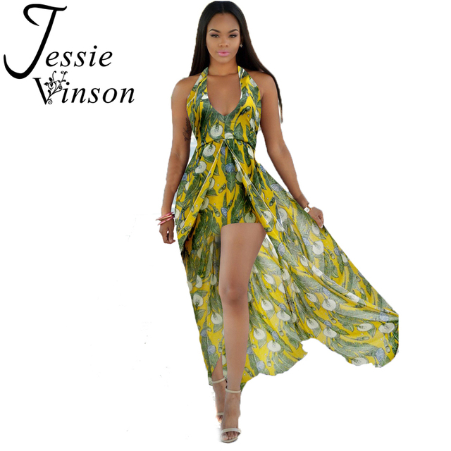 57fc5569ddbe2b Jessie Vinson Bohemian Style Halter Neck Split Maxi Dress Plus Size Loose  Tropical Print Backless Chiffon Dress Vestido Sexy