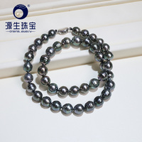 [YS] 8.5 10mm Black Green Natural Cultured Tahitian Saltwater Pearl Necklace Real Product Pictures