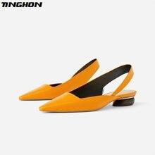 TINGHON Women Wood Heel Slingback Sandals Sexy Pointed Toe Flat Slip on Solid Orange