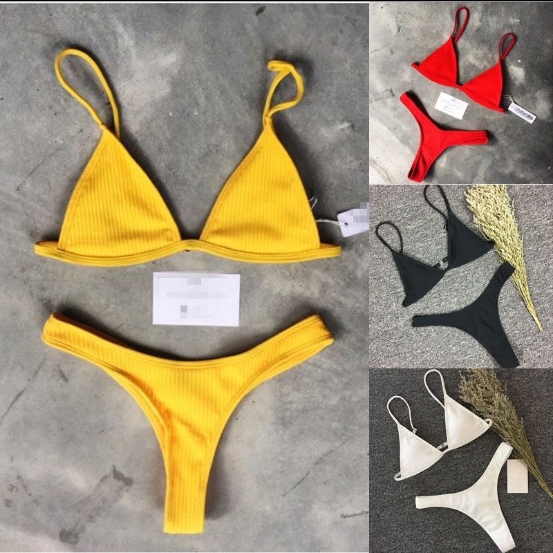 2019 Simple Sexy Nylon Lace Up Bow Bandage Bra set Multicolor Solid Women Push-up Bikini Set 1/2 Cup Large Bra Brief Set A410006