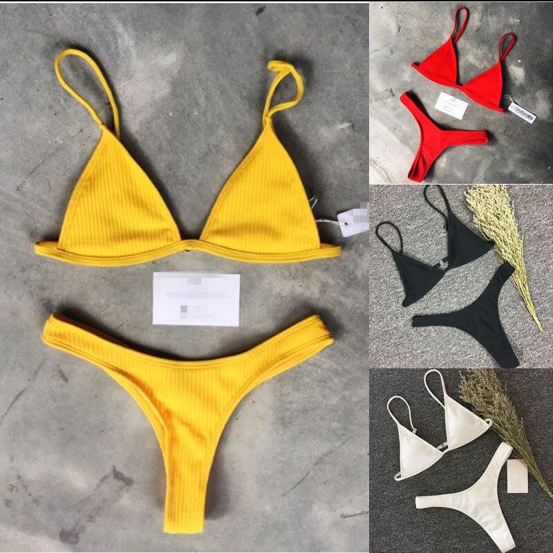 2019 Simple Sexy Nylon Lace Up Bow Bandage   Bra     set   Multicolor Solid Women Push-up Bikini   Set   1/2 Cup Large   Bra     Brief     Set   A410006