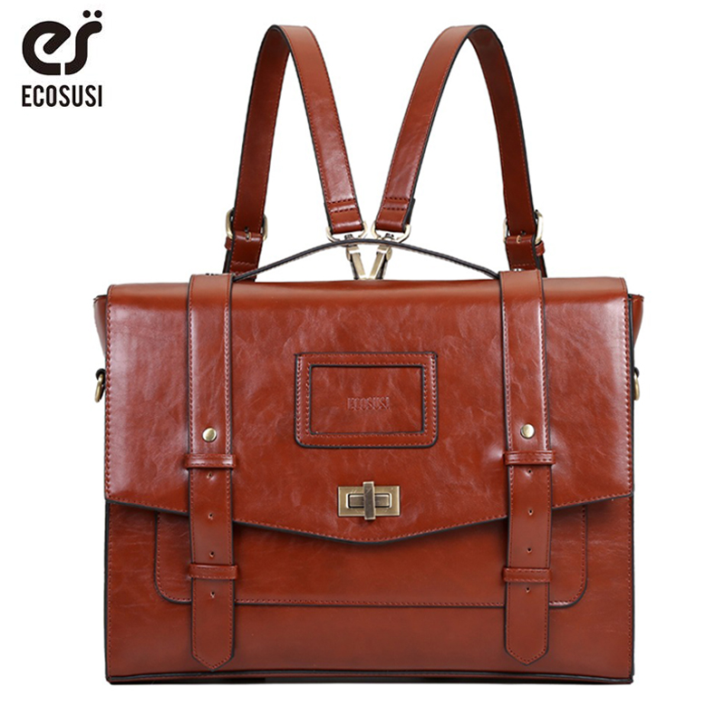ECOSUSI New Design Women Messenger Bags for 14 7 Laptop Vintage PU Leather Handbag Crossbody Satchel