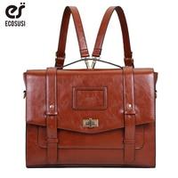 ECOSUSI New Design Women Messenger Bags for 14.7 Laptop Vintage PU Leather Handbag Crossbody Satchel Briefcase Bolsas Femininas
