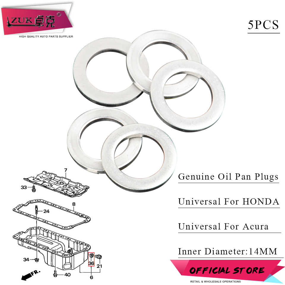 small resolution of zuk 5pcs lot genuine engine oil pan drain plug crush washer gasket for honda for