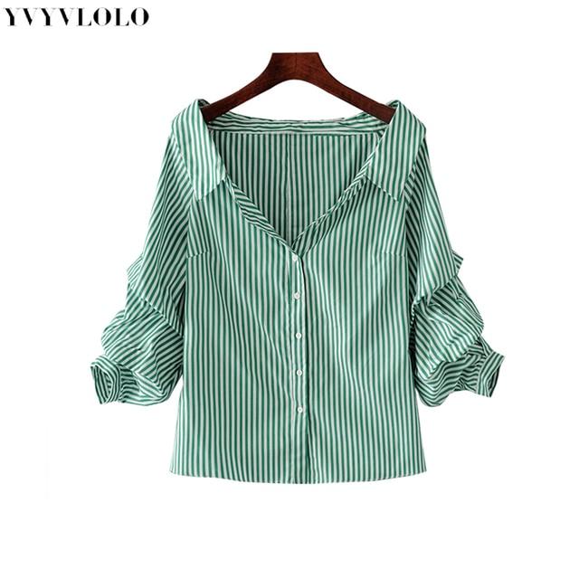 f90abf50049e Nuevo hombro rayas verde doble tres cuartos de manga blusa de las mujeres  2017 Blusas de verano camisa de mujer elegante Tops mujer