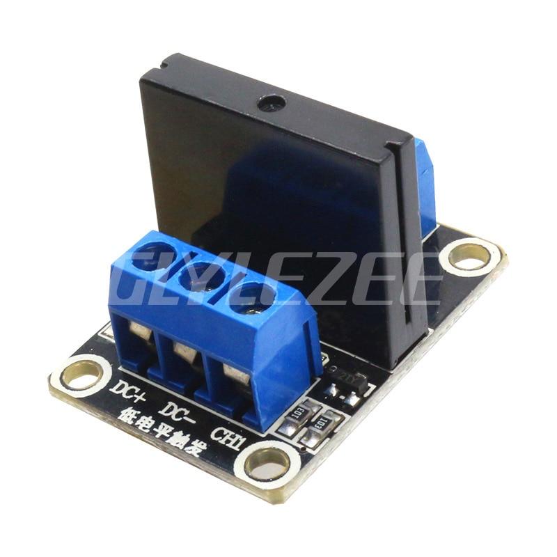 Placa de m/ódulo de rel/é de estado s/ólido de 1 canal Disparo de nivel bajo Entrada SSR Salida de 5 V CC Salida de 240 V CA 2A Fusible para controlador PLC Arduino