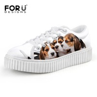 FORUDESIGNS Cute Pet Dogs Printed Women Flats 2017 Fashion Spring Platform Shoes For Lady Breathable Female