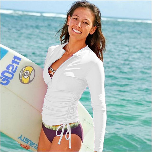 SBART Long Sleeve Rashguard Jacket Women 2018 Lycra Surf Shirts Swim Rash Guards Women Top Anty UV Swimwear Rushguard T-Shirt