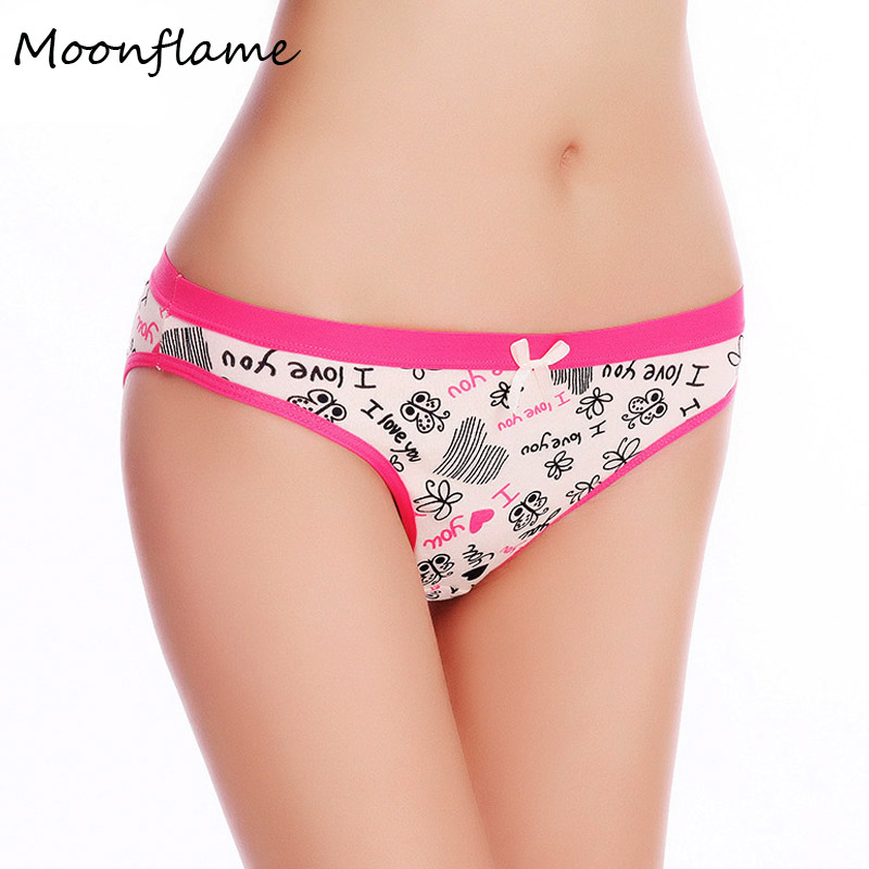 Moonflame Everyday Underwear Women 2019 New Printed Cotton Women's Briefs   Panties   89008