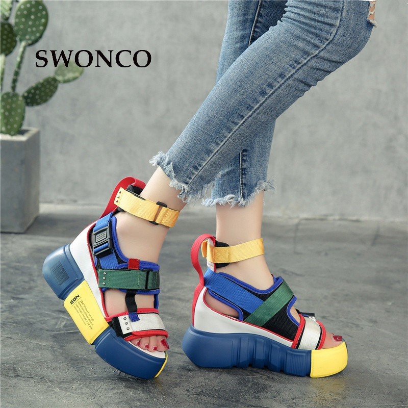 SWONCO Women's Sandals 2019 Summer High Heels Sandals For Women Chunky Sandal Womens Wedge Platform Shoes Casual Summer Sandal