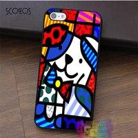 Dog Romero Britto Graffiti Chalk Art Fashion Cell Phone Case For Iphone 4 4s 5 5s