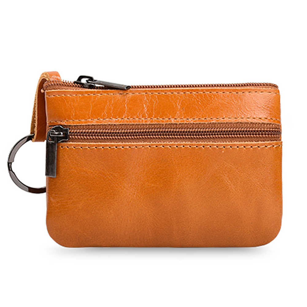 51e101769ee Genuine Leather Coin Purse Women Mini Zipper Money Bag Pouch Unisex Key  Ring Small Wallet Ladies
