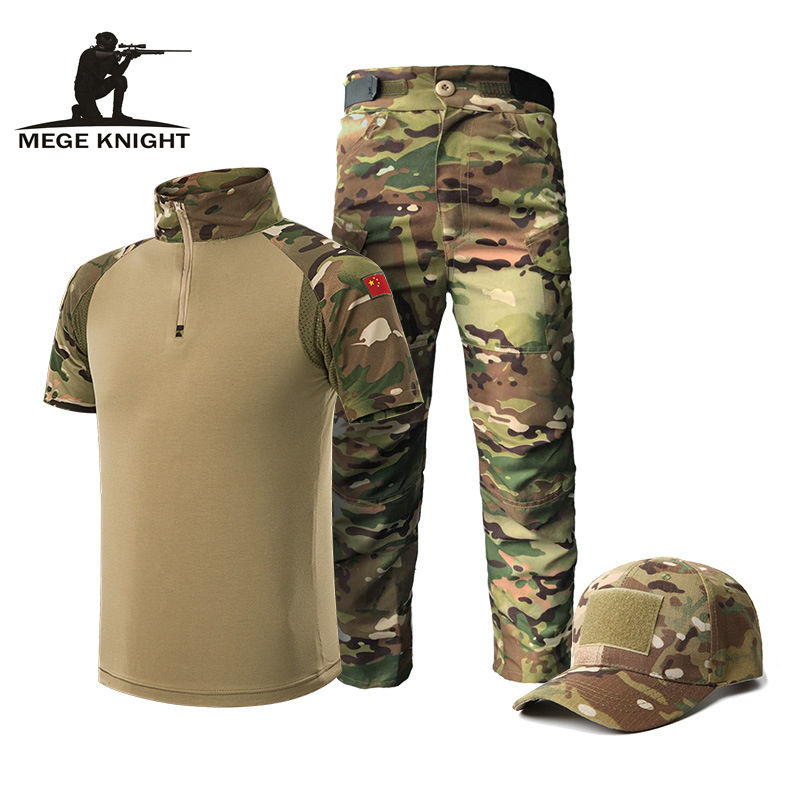 Mege Summer Military Uniform For Children Multiam Camouflage Tactical Suit Airsoft CS Game Clothing Teenager's Army Costume
