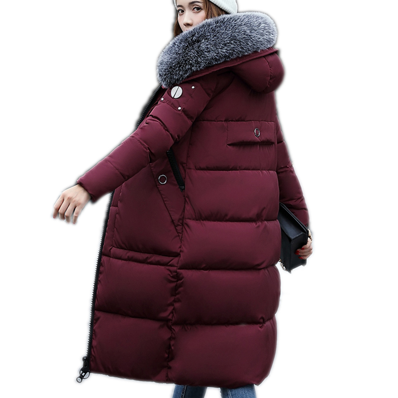 2017 New Winter Jacket Women's Parkas Feathers Long Cotton Coat Women Korean Luxury Big Collar Coat Jacket For Woman Outwear factory outlets 2014 new winter in europe and america women british style stitching cotton quilted jacket short parkas coat