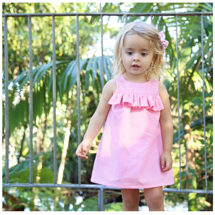 Baby Dresses For Girls summer pink Baby Girl Dress  Sleeveless Vestidos Infantil Baby Clothes Dress For Girls Baby Clothes