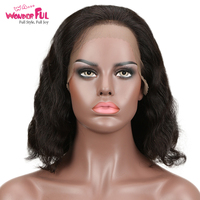 WAWONDERFUL Curly 13X4 Lace Front Wig M Remy Human Hair Wigs Natural Color 10 14 Inch 13*4 LACE WIG CURLY BOB Brazilian Hair