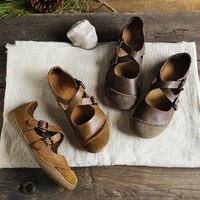 (35 46) IMTER Ballerinas Women Barefoot Flat Shoes women Genuine Leather Buckle Strap Ladies Shoes Flat Soles (5188 9)