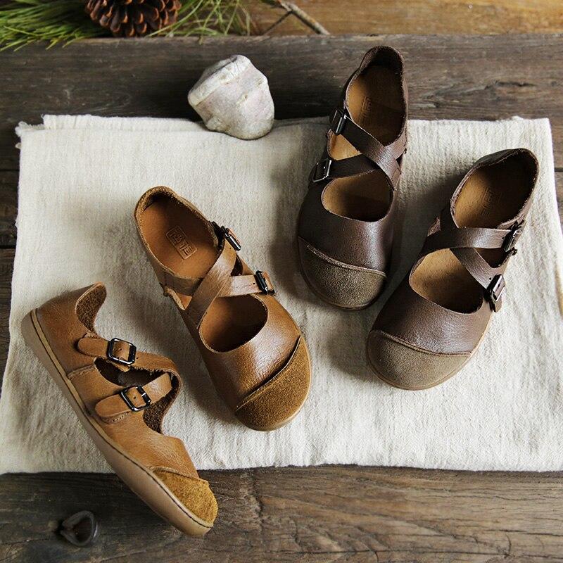 (35-46) l'IMTER Ballerines Femmes Pieds Nus chaussures plates femmes Véritable boucle en cuir Sangle chaussures dames Plat Semelles (5188-9)