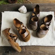 (35 42) IMTER Ballerinas Women Barefoot Flat Shoes women Genuine Leather Buckle Strap Ladies Shoes Flat Soles  (5188 9)