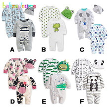 3Piece/0-24Months/Spring Autumn Baby Rompers+Hat Cartoon Cute jumpsuit For Infant Boys Girls Clothes Newborn Clothing Set BC1128